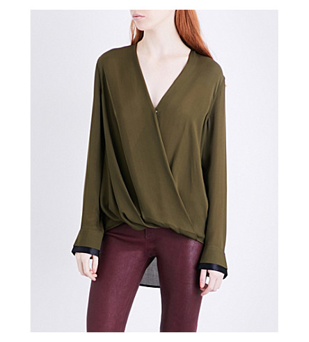 RAG & BONE Victor silk-crepe blouse (Dark+olive