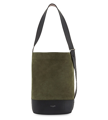 RAG & BONE Walker suede and leather sling shoulder bag (Olv+nght+sde