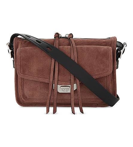 RAG & BONE Suede Small Field messenger bag (Mauve+suede