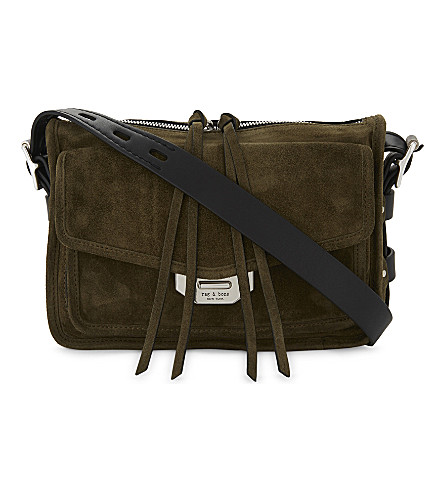 RAG & BONE Suede Small Field messenger bag (Olv+nght+sde
