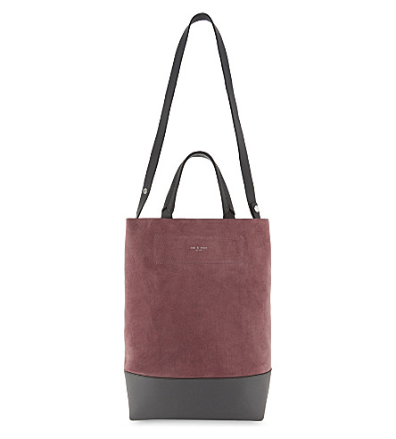 RAG & BONE Walker leather and suede reversible shoulder bag (Mauve+suede