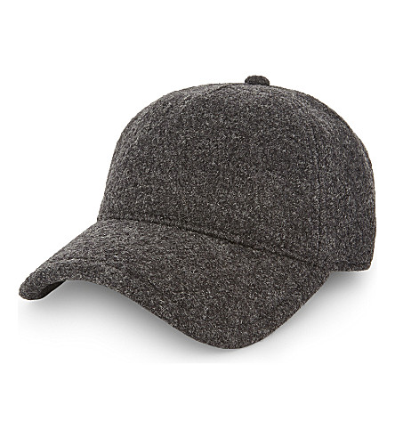 RAG & BONE Marilyn wool strapback cap (Chrcoal+wool