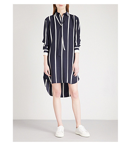RAG & BONE Arc striped silk-satin tunic (Salute/white