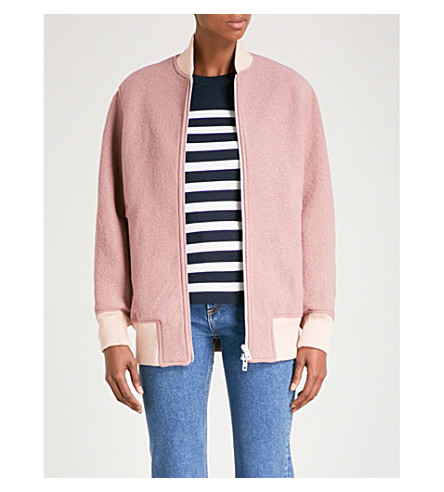 RAG & BONE Elle boil wool bomber jacket (Mauve
