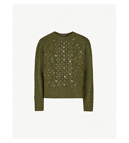 RAG & BONE Jemima embellished wool, alpaca and linen-blend jumper (Army