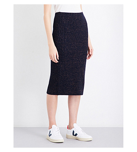 RAG & BONE Jubilee metallic-detail wool-blend skirt (Navy