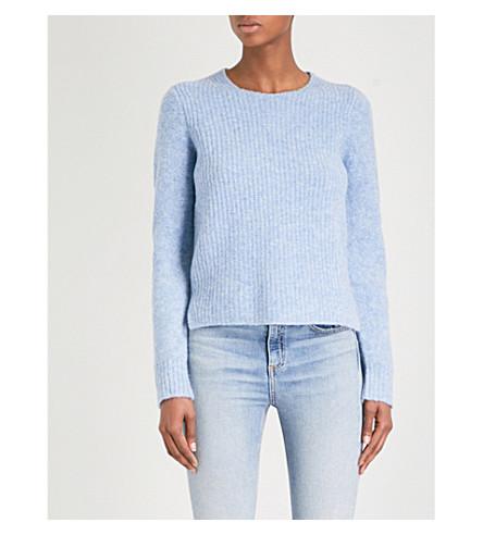 RAG & BONE Francie elbow-patch wool-blend jumper (Lt+blue
