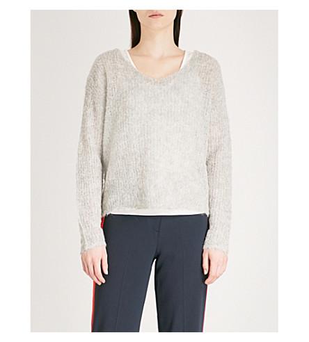 RAG & BONE Freda V-neck alpaca-blend jumper (Lt+grey