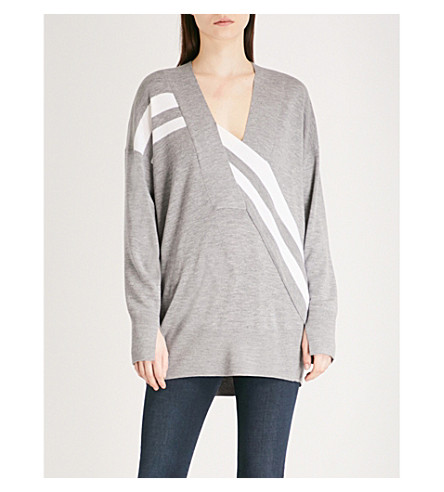 RAG & BONE Grace striped wool jumper (Lt+grey