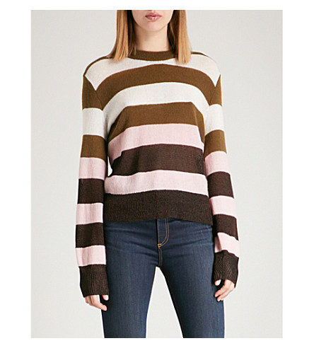RAG & BONE Annika striped knitted jumper (Pink+multi