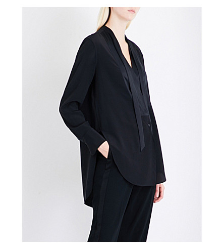 RAG & BONE Frida silk-crepe tuxedo shirt (Black