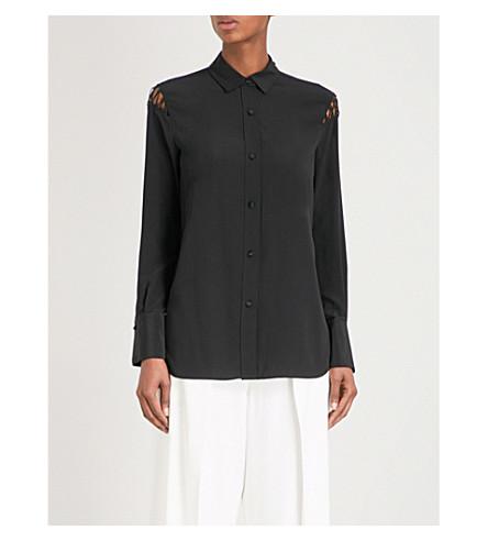 RAG & BONE 格子-细节丝绸-缎子衬衫 (黑色