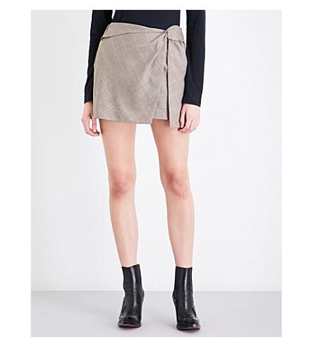 RAG & BONE Logan knot-detail mid-rise wool skirt (Camel/blk