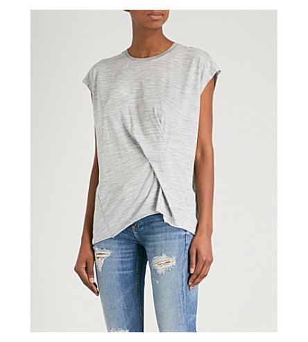 RAG & BONE Draped wool-blend T-shirt (Heather+grey