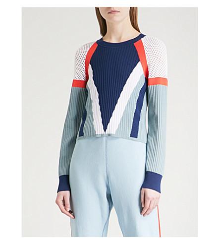 RAG & BONE Lark mesh-panel knitted jumper (Sea+blue