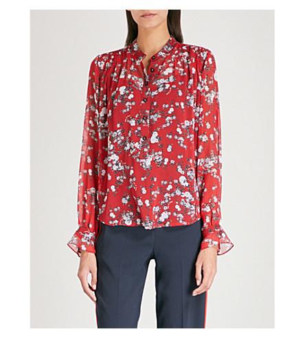 RAG & BONE Susan silk-chiffon shirt (Red+grdn+flr