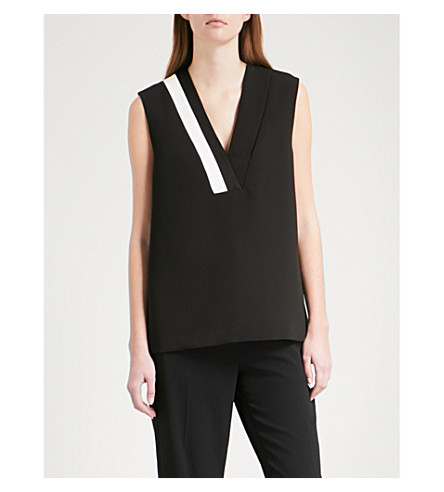 RAG & BONE Lodwick V-neck sleeveless crepe top (Black