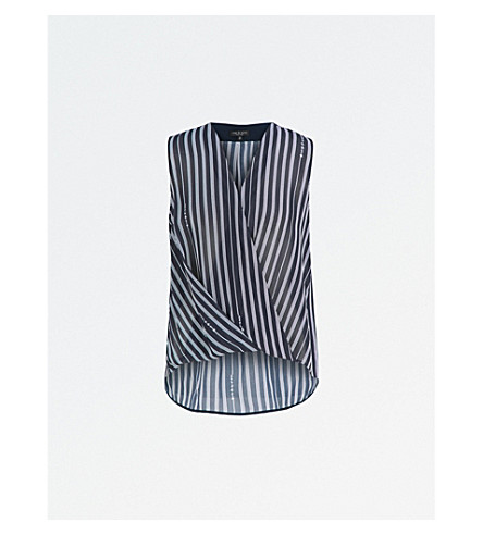 RAG & BONE Victor striped sleeveless silk blouse (Navy+stripe