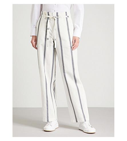 RAG & BONE绿洲宽腿棉和亚麻混纺长裤 (象牙/海军