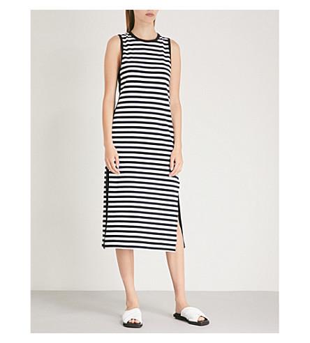 RAG & BONE Striped crepe midi dress (Black+stripe