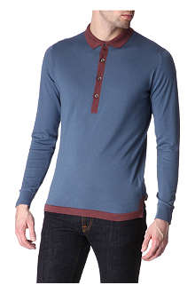 JOHN SMEDLEY Knitted cotton polo shirt