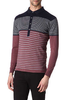 JOHN SMEDLEY Knitted cotton long-sleeved polo shirt