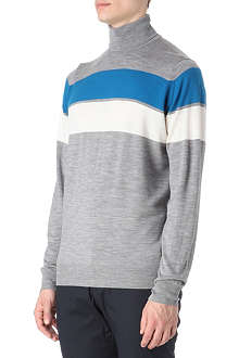JOHN SMEDLEY Double-stripe roll neck jumper