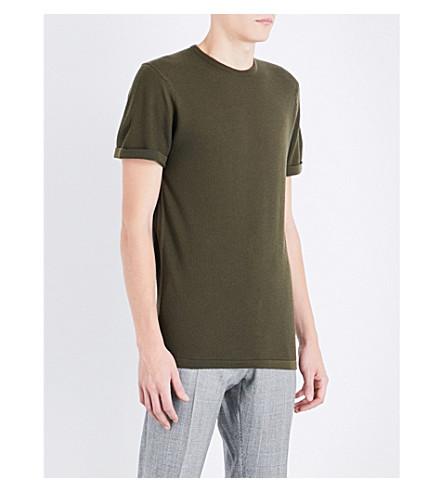 JOHN SMEDLEY 2.Singular wool T-shirt (Khaki