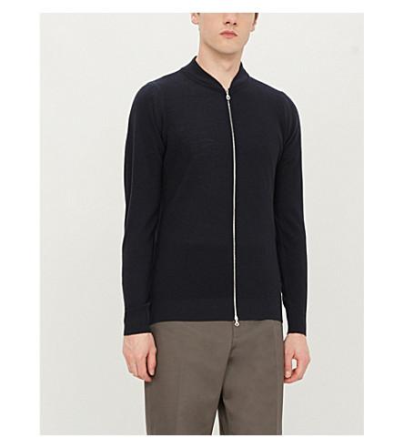 JOHN SMEDLEY 6.Singular wool bomber jacket (Midnight