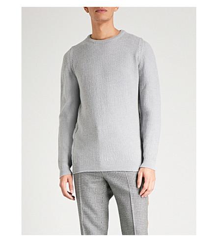 JOHN SMEDLEY Singular unisex textured wool jumper (Bardot+grey