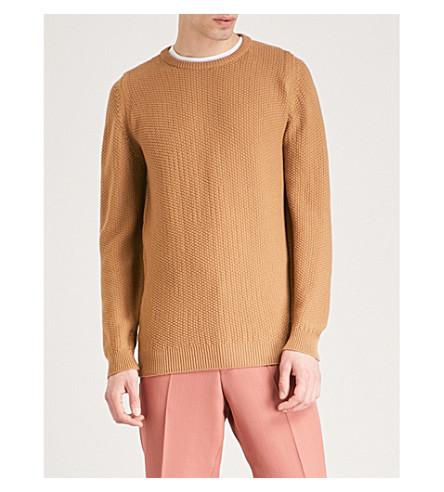 JOHN SMEDLEY Singular unisex textured wool jumper (Camel