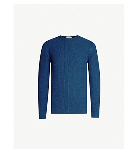 JOHN SMEDLEY Singular unisex textured wool jumper (Indigo