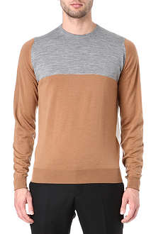 JOHN SMEDLEY Colourblocked crew-neck jumper