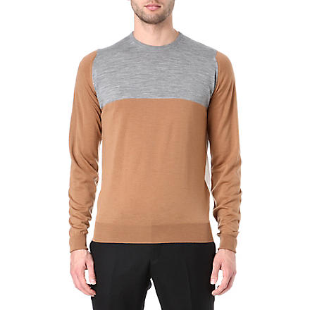 JOHN SMEDLEY Colourblocked crew-neck jumper (Caramel/snow