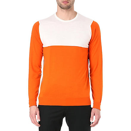 JOHN SMEDLEY Colourblocked crew-neck jumper (Papaya/caramel