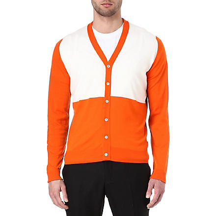 JOHN SMEDLEY Colourblocked merino wool cardigan (Papaya/caramel