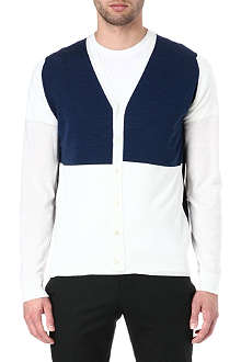 JOHN SMEDLEY Colourblocked merino wool cardigan