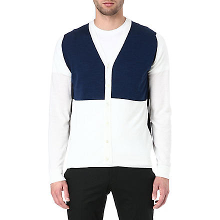JOHN SMEDLEY Colourblocked merino wool cardigan (Snow/midnight