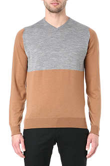 JOHN SMEDLEY Colourblocked v-neck jumper