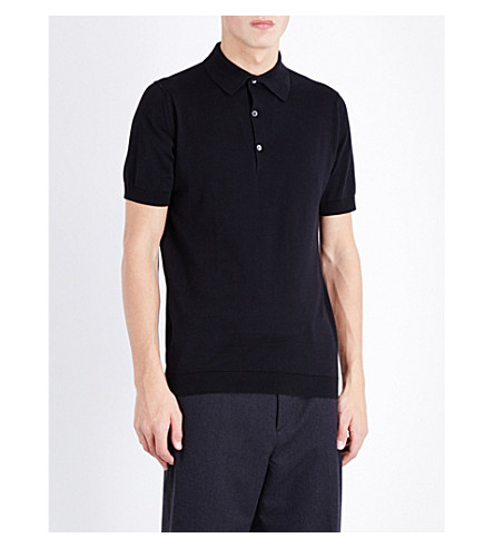 JOHN SMEDLEY Sea Island cotton polo shirt (Black