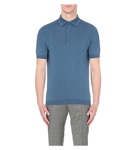 JOHN SMEDLEY Adrian cotton polo shirt (Baltic+blue