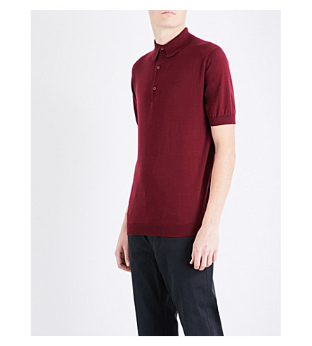 JOHN SMEDLEY Adrian cotton polo shirt (Burgundy+grain