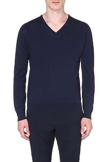 JOHN SMEDLEY Bampton slim-fit v-neck jumper