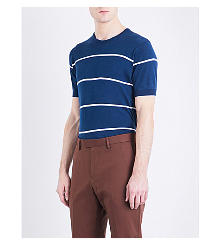 JOHN SMEDLEY Barlby striped knitted cotton T-shirt (Indigo