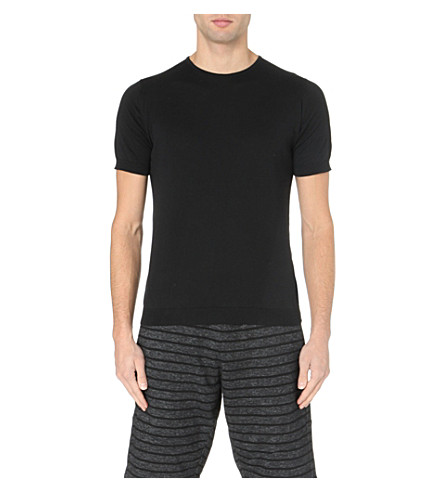 JOHN SMEDLEY Belden knitted cotton t-shirt (Black