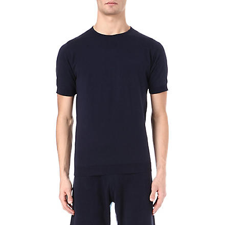 JOHN SMEDLEY Belden Sea Island cotton t-shirt (Navy