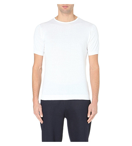 JOHN SMEDLEY Belden cotton t-shirt (White