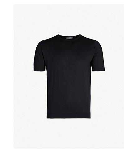 JOHN SMEDLEY Belden knitted cotton t-shirt (Black