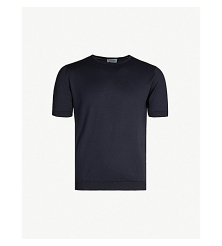JOHN SMEDLEY Belden knitted cotton t-shirt (Navy