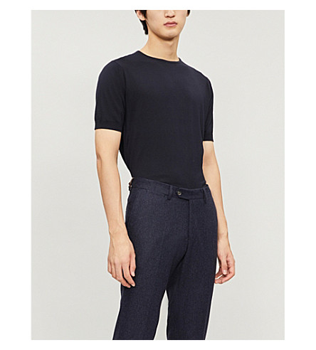 Cheap Fashion Style JOHN SMEDLEY Belden knitted cotton t-shirt Navy Discount Low Shipping FXyDZyV